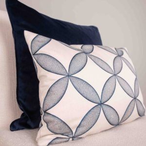 Swirling Blues Cushion with Feather Inner