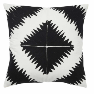 BOLD & BLACK TRIBAL Ghana Embroidered Black & White Geometric Cushion with Tetron Inner