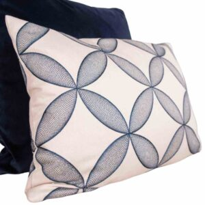 BLUE & BEAUTIFUL Swirling Blue Embroidery Cushion with Feather Inner