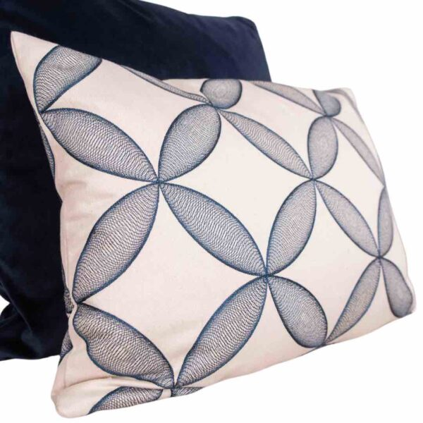 Blue Embroidered Geometric