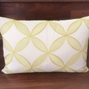 LOVELY AND LEMONY – Embroidered Yellow and Cream Swirl Cushion