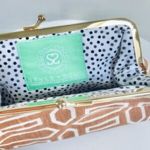 Hand Screen Printed Linen Lippy or Coin Purse