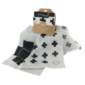 Cross Linen Tea Towel Set